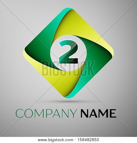 Two number colorful logo in the rhombus. Vector template for your design