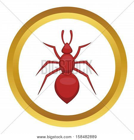 Ant vector icon in golden circle, cartoon style isolated on white background