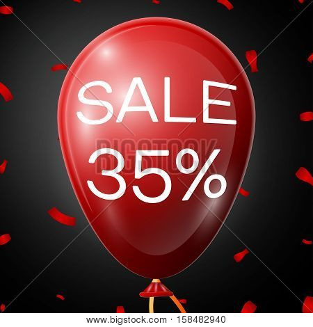 Red Balloon with 35 percent discounts over black background. Vector illustration