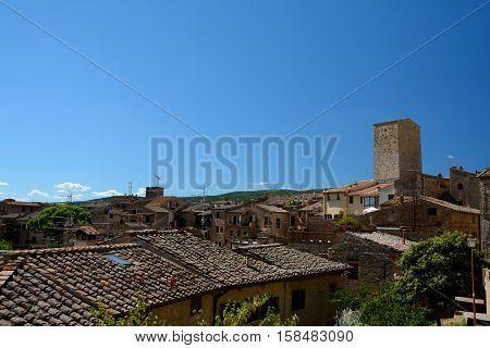 San Gimignano Italy - September 6 2016: View of San Gimignano city in Tuscany Italy.
