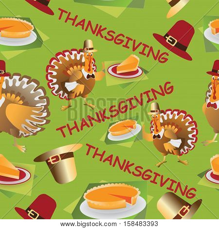 Thanksgiving. Seamless pattern. Composition on a green background for textiles, tapestries, packing material.