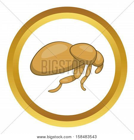 Flea vector icon in golden circle, cartoon style isolated on white background