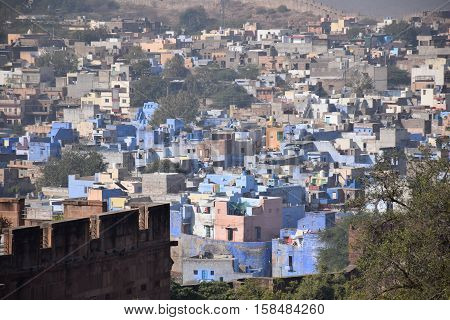 Aerial view of the blue city Jodhpur from Mehrangarh fort - Jodhpur, Rajasthan, India