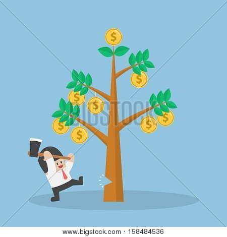 Businessman Cutting Tree Of Money