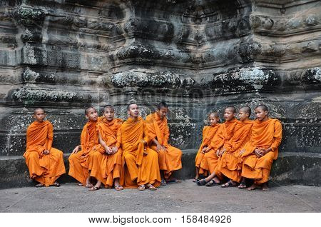 Buddhist Monks In Reddish Yellow Robes