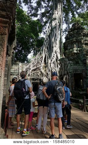 Nidentified Tourists At Ta Prohm Temple In Angkor Wat