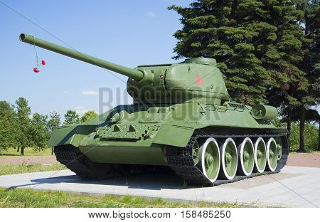 SAINT PETERSBURG, RUSSIA - JUNE 29, 2015: Tank T34-85, mounted on the memorial