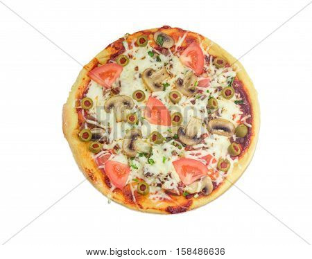 Cooked round pizza with chicken meat button mushrooms tomatoes and olives on a light background