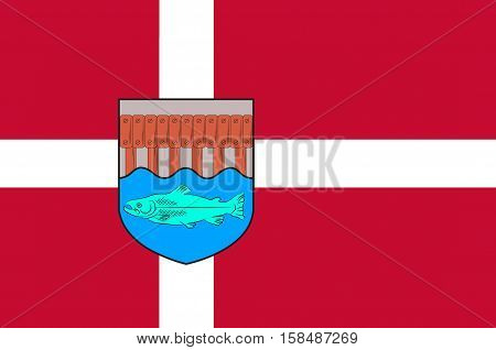 Flag of Skive in Central Jutland Region in Denmark