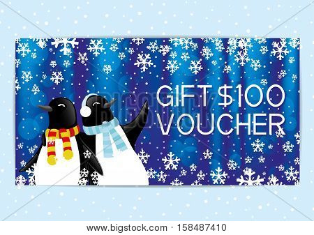 Christmas and New Year gift voucher with penguins.