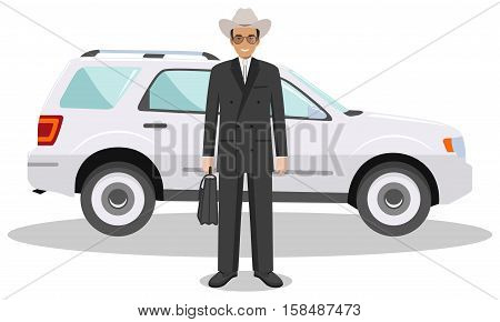 Detailed illustration of automobile and american european businessman on white background in flat style.