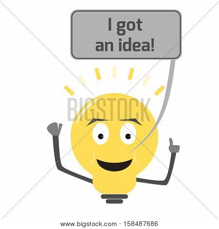 Lightbulb got an idea. Clever lightbulb character with smile and a speech bubble with text. Isolated illustration.