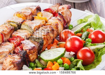 Grilled shashlik with vegetables on a white plate