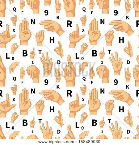 Hand language signs on white seamless pattern