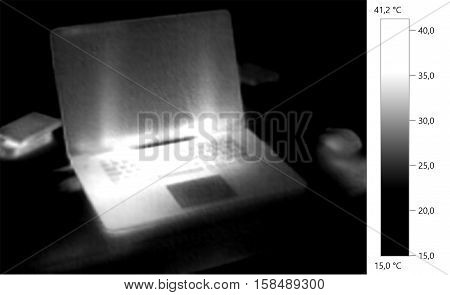 Thermal image photo computer laptop gray scale