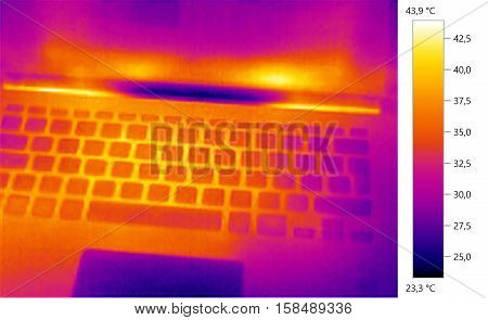 Thermal image photo computer laptop color scale