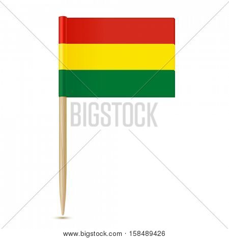 Bolivia flag toothpick on white background 10eps