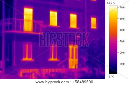 Thermal image photo building windows color scale