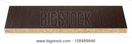Particle board also known as chipboard is isolated on white background without shadows