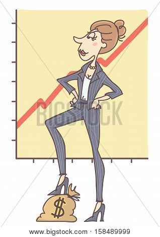 Successful woman standing confidently with one leg on money sack, chart in the back showing business growth, vector cartoon.
