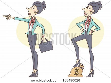 Confident, stylish and successful business woman in determined poses, looking ahead, set of two postures, vector cartoon.