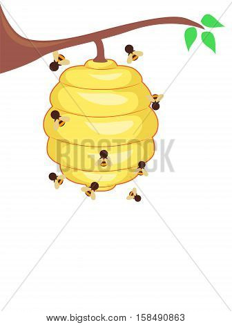 Vector Illustration of Yellow Bee hive with Bees