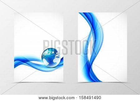 Front and back wave flyer template design. Abstract template with blue lines and globe in dynamic soft style. Vector illustration