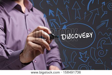 Technology, Internet, Business And Marketing. Young Business Man Writing Word: Discovery