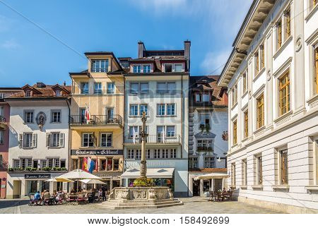 LUZERN,SWITZERLAND - SEPTEMBER 3,2016 - In the streets of Luzern. Luzern is a city in central Switzerland.