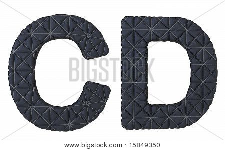 Luxury Black Stitched Leather Font CD Letters