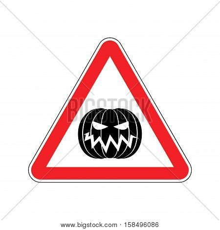 Halloween Warning Sign Red. Masquerade Hazard Attention Symbol. Danger Road Sign Triangle Pumpkin