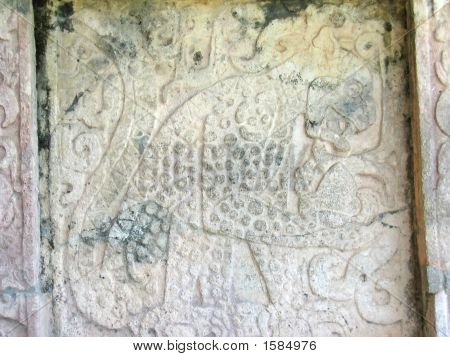 A maya temple stone carving - Chichen Itza - Mexico. poster