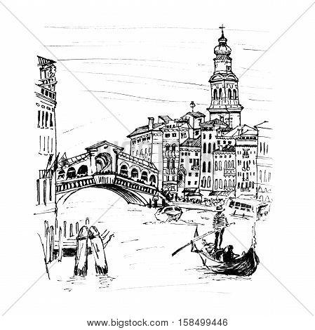 Grand Canal near bridge Ponte di Rialto in sketch style, Venice, Italy. Picture made marker