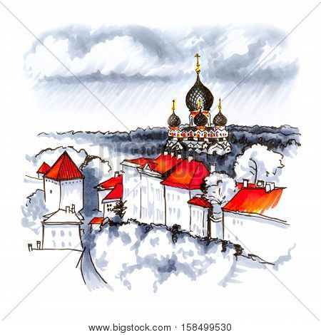 Color hand drawing, Toompea hill with fortress wall, tower and Russian Orthodox Alexander Nevsky Cathedral, view from the tower of St. Olaf church on a rainy day, Tallinn, Estonia. Picture made with markers