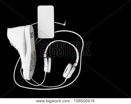 3D Illustration Of Top View Of Headphones, Shoe And Phone On Black Background