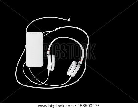 3D Illustration Of Top View Of Headphones And Phone On Black Background