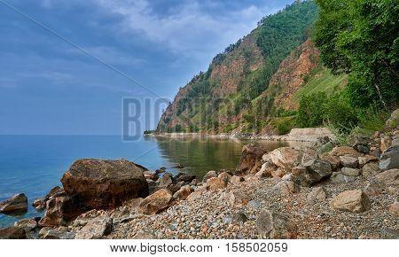 Boulder on shores of Baikal. Irkutsk region. Russia