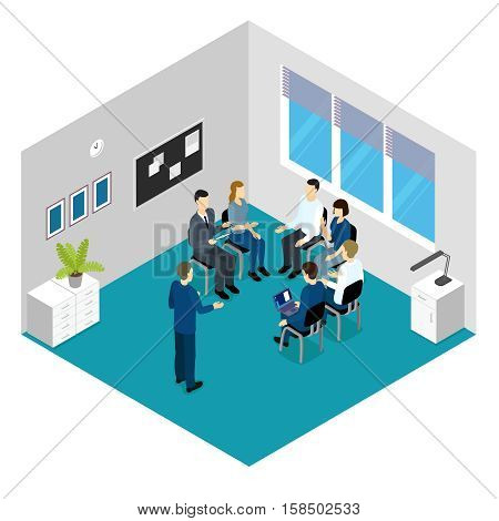 Personnel training isometric concept with lecturer and group of people in blue grey room vector illustration