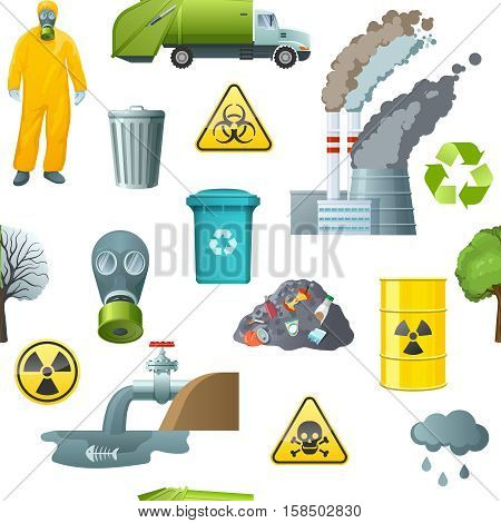 Pattern with seamless isolated environmental pollution elements garbage remedy danger radiation and recycling signs refuse bins vector illustration