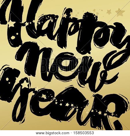 Happy New Year Hand Lettering Banner.