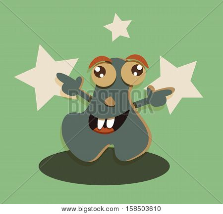 Funny cartoon cute smiling monster character super star vector.