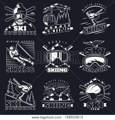 Isolated monochrome emblems set with mountain ski vintage symbols decorative elements white on dark background flat vector illustration