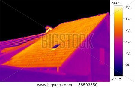 Thermal image photo roof building color scale
