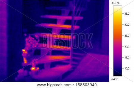 Thermal image photo stairs building color scale
