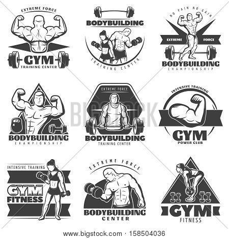 Vintage body building label set with extreme force gym training center bodybuilding championchip and others descriptions vector illustration