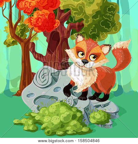 Forest red fox at grey stone near tree with hollow cartoon style design vector illustration