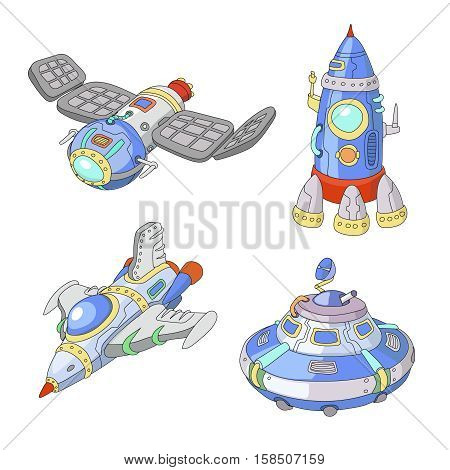 Spaceship and UFO cartoon set, Rocket and spacecraft isolated hand drawn illustration
