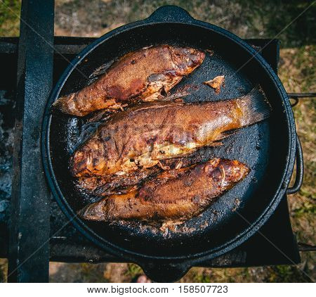 Cooking fresh fish fried BBQ with a delicious crispy golden crust in a cast-iron pan over an open fire outdoor
