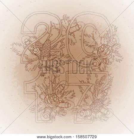 2017 New Year coniferous design with glowing garland. Vector design elements isolated on the vintage background in ocher colors.