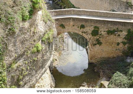 Bridge over the gorge in Ronda Andalusia Spain